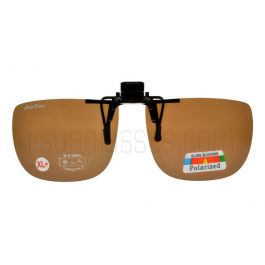 ClipFlipz Rectangular Polarised Extra-Large-Plus/Brown Clip On Sunglasses