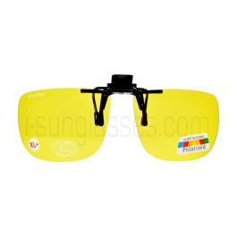 ClipFlipz Rectangular Polarised Extra-Large-Plus/Yellow Clip On Sunglasses