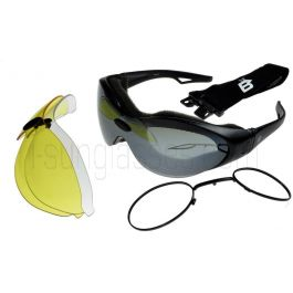 Birdz Phoenix Interchangeable Motorcycle Sunglasses/Goggles 3 Lens Kit with Prescription Lens Rx Insert ML