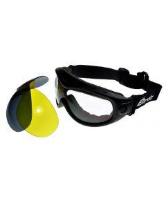 Birdz Heron Interchangeable Motorcycle Goggles 3 Lens Kit Medium Size