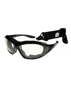 Birdz Thrasher Convertible Sports Motorcycle Padded Sunglasses Black/Clear ML