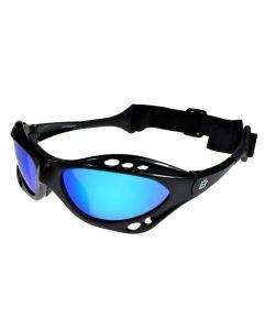 Birdz Seahawk Floating Polarised Sunglasses Black/Blue-Mirror ML
