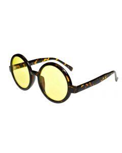 Round Oversized Sunglasses Tortoiseshell/Yellow-AR Lenses ML