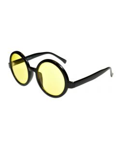 Round Oversized Sunglasses Black/Yellow-AR Lenses ML