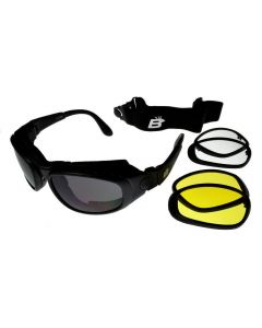 Birdz Falcon Interchangeable Motorcycle Sunglasses/Goggles 3 Lens Kit Black L
