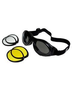 Birdz Owl Interchangeable Sports Motorcycle Goggles 3 Lens Kit Black ML