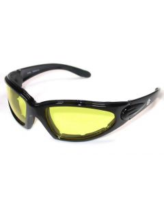 Birdz Quail Sports Motorcycle Padded Sunglasses Black/Yellow ML