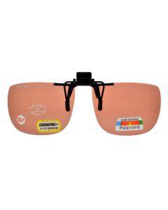 ClipFlipz Rectangular Polarised Extra-Large-Plus/Copper Clip On Sunglasses