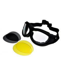 Birdz Buzzard Interchangeable Motorcycle Goggles 3 Lens Kit Black Large Size