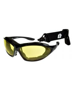 Birdz Thrasher Convertible Sports Motorcycle Padded Sunglasses Black/Yellow ML