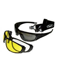Global Vision QuickChange Interchangeable Sunglasses/Goggles 3 Lenses Black L