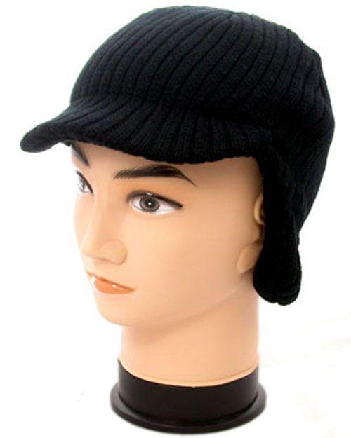 Peaked Ear Flap Beanie - Black