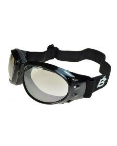 Birdz Eagle Sports Motorcycle Goggles Black/Clear-Mirror ML