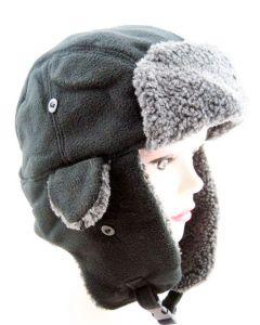 Trapper Hat in Black Fleece