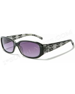 CG Rectangular Ladies Fashion Sunglasses 36031 Black-Clear/Blue ML