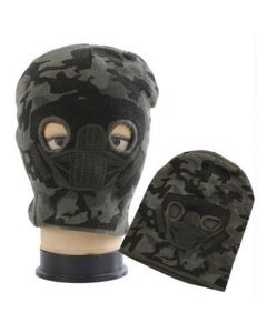Face Mask Beanie Combo - Dark Grey Camo