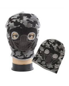 Face Mask Beanie Combo - Light Grey Camo