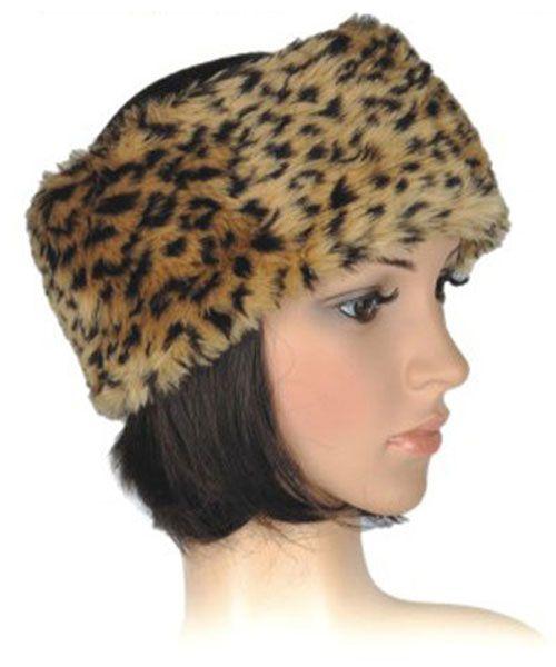 Faux Fur Ladies Headband in Brown Leopard