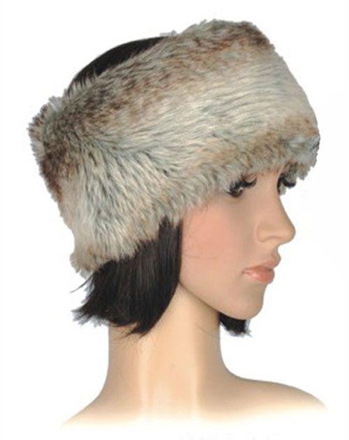 Faux Fur Ladies Shaggy Headband in Brown