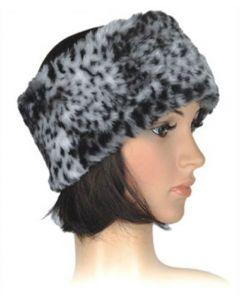 Faux Fur Ladies Headband in Grey Leopard