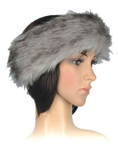 Faux Fur Ladies Shaggy Headband in Grey