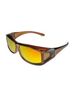 Fit-Over Sunglasses Polarised 70077 Opaque-Brown/Fire-Revo Mirror Small Size