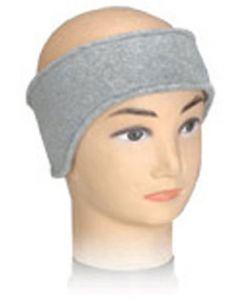 Large Size Fleece Ears Headband in Grey (As Worn)