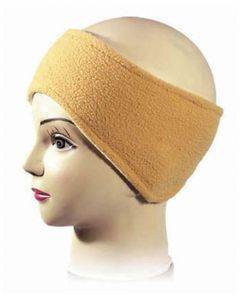 Small Size Shaped Fleece Headband in Sand (As Worn)
