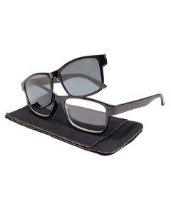 Squared Retro Reading Glasses Magnetic Polarised Sunreader Black/Smoke ML