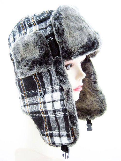 Trapper Hat in Black Check