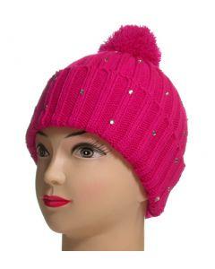Ladies Pom Pom Beanie Pink (As Worn)