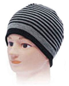 Striped Beanie Hat - Black-Grey