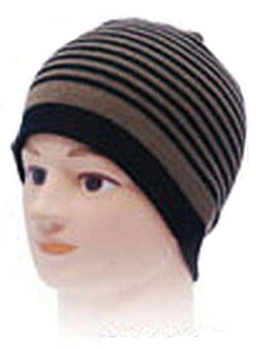 Striped Beanie Hat - Black-Brown