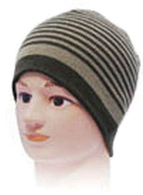 Striped Beanie Hat - Green-Beige