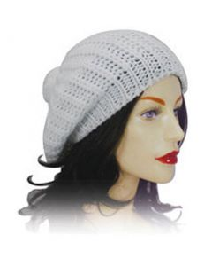 Ladies Knitted Beret - White