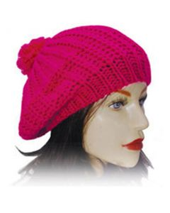 Ladies Knitted Beret - Cerise