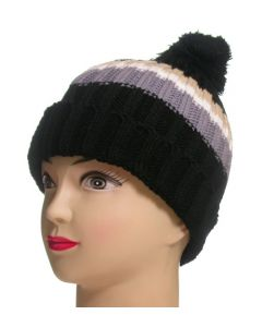 Junior Pom Pom Beanie Black Striped