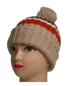 Junior Pom Pom Beanie Beige Striped
