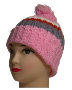 Junior Pom Pom Beanie Pink Striped