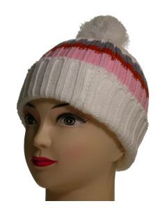 Junior Pom Pom Beanie White Striped (As Worn)