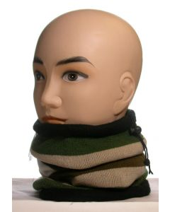 3 in 1 Striped Fleece Neck Warmer Green-Beige-White-Brown