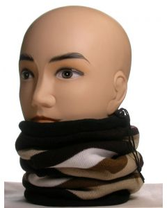 3 in 1 Striped Fleece Neck Warmer Black-Beige-White-Brown