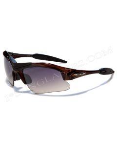 X-Loop Half Frame Wraparound Sunglasses 8X3538 Opaque-Brown/Smoke L